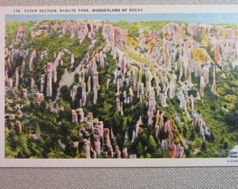 Vintage 1940's Postcard Totem Section, Ryolite Park, Wonderland of Rocks