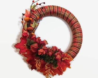 Fall Wreath, Fall Decor, Fall Door Decor, Fall Foliage Wreath, Home Decor, Thanksgivng Decor, Multi Orange Wreath