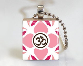 Yoga Namaste - Scrabble Pendant Necklace with Ball or Snake Chain Necklace or Key Ring
