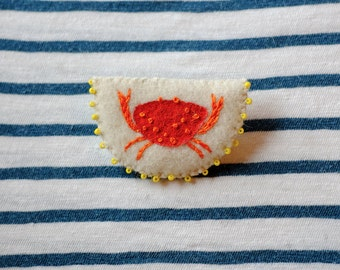 Hand Embroidered Crab Pin Brooch 100% Wool