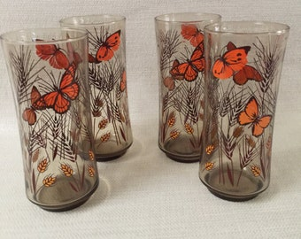 Libbey Butterfly and Wheat Tall Drinking Glasses Set of 4