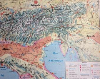 Extra Large Vintage French School Map Bulgaria, Romania, Germany, Austria, Hungary, Switzerland,Italy and Yugoslavia