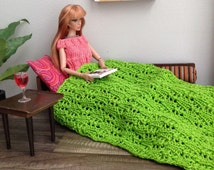 1:6 scale Delicate Lace-Knit Throw Blanket in Lime Green for 12 inch Fashion Doll Diorama or Dollhouse