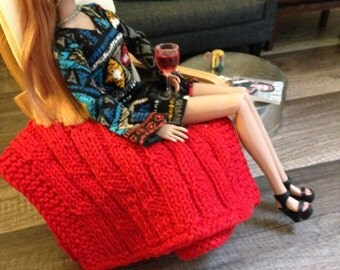Delicate cable knit throw blanket in red for sixth scale diorama or doll house