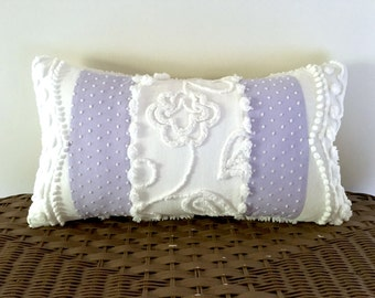 Lavender pillow cover 10 x 18 WHITE ROSEBUD, purple cushion cover, lilac throw pillow, lavender chenille pillow sham, shabby cottage chic