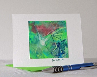 Watercolor Note Card // Original Art // Cracked Glass Abstract