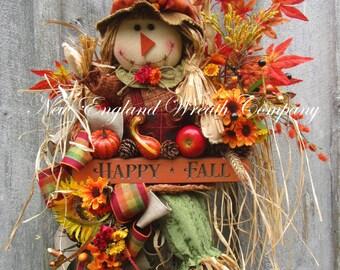 Fall Wreath, Fall Swag, Autumn Wreath, Harvest Wreath, Halloween Swag, Scarecrow Wreath, Thanksgiving Decor, Whimsical Fall Wreath