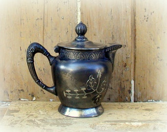 Aesthetic Movement Silver Pitcher Covered Creamer New Haven Silverplate Co. Quadruple Plate Farmhouse Kitchen Syrup Server