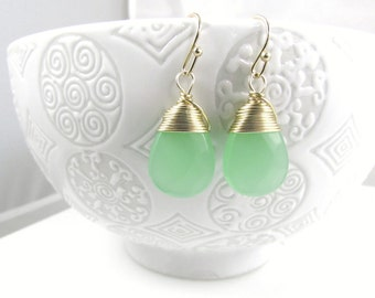 Sea foam Green earrings bridal sets faceted glass teardrop wire wrapped gold gemstone drop dangle earrings