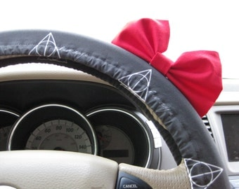 Steering Wheel Cover Bow - Harry Potter Deathly Hallows ALWAYS Wand Stone Cloak Grey Steering Wheel Cover Inspired with Red Bow BF11303