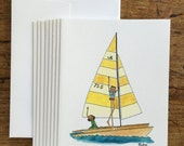 Whimsical Sailboat Note C...