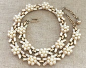 TRIFARI Rhinestone Pearl Necklace - Vintage Trifari Collar Necklace - Trifari Flower Necklace - Vintage Trifari Jewelry