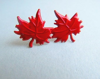 Maple Leaf Stud Earrings Red, Autumn, Canada