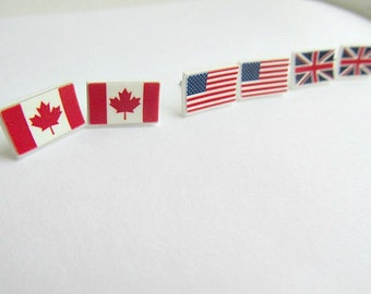 Country Flag Stud Earrings Customizable Flag earrings, Inependence Day,