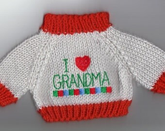 I Love Grandma Sweater for 10 to 12 Inch Bear, Doll or Stuffed Animal
