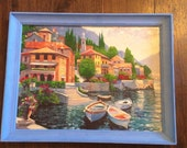 15 % OFF-Hand Painted Behrens Lake Como Italy, Upcycled, Italian Villas, Seaside Harbor
