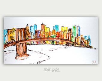 Original Colorful Brooklyn Bridge View Oil Painting Abstract Modern Skyline Artwork City Home Decor