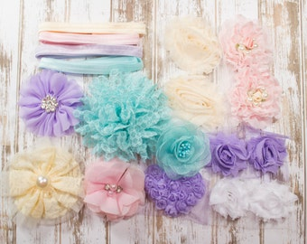 Sweet Pastels Headband & Hair Accessory Starter Kit - Coordinating Elastic and Flowers to create hair bands and hair clips
