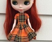 Rosiee Gelutie Simple Swing Dress in Orange and Black Plaid