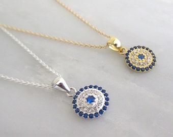 Evil Eye Necklace with CZ Accents