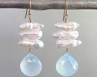 Pearl & Aqua Chalcedony Briolette Earrings
