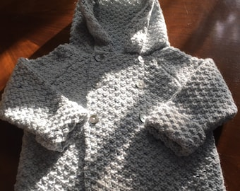 Hand knit Baby Blue Merino and Cashmere Hooded Double Breasted jacket / Sweater age 1-2 Years