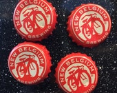 New Belglium Brewing Bottle Cap Magnets - Set of 4 - Colorful Bar Decorations - Gifts for Guys or Girls