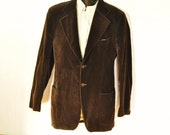 Mens Velvet Jacket 38L Chocolate Brown Blazer Sport Coat Extra Long Tall Man Unisex Womens Fully Lined