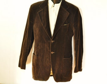 Mens Velvet Jacket 38L Chocolate Brown Blazer Sport Coat Extra Long Tall Man Unisex Womens Fully Lined