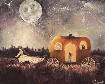 Audrina Gypsy Peddler - Original Acrylic Painting on Board ~ Gypsy Pulling Pumpkin Carriage Under the Full Moon ~ Caravan Wagon Autumn OOAK