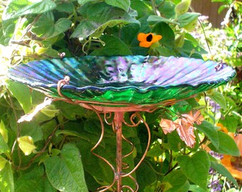 "WEDDING 7th ANNIVERSARY Gift, Garden BIRDBATH, 8.25"" diameter, Home Decor, copper art, green, stained glass, Iridescent, Outdoor living"