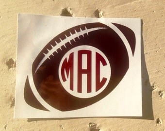 Football Decal, Monogram Decal,  Sport Decal, Personalized Football Decal, Vinyl Decal, Football Sticker, Car Decal, Yeti Decal