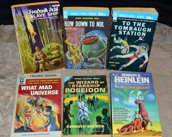 Lot of Retro Sci-Fi Paperbacks - Amazing Cover Designs - 1950's & 1960's - Vintage Pulp / Science Fiction Books - Quirky / Trashy / Unusual