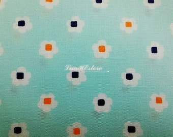 SALE - Cute flower with block inside, light blue, 1/2 yard, pure cotton fabric