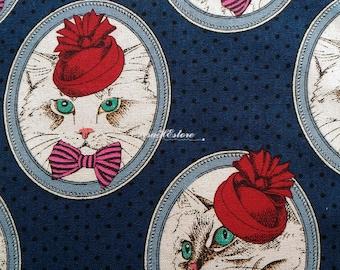 SALE - Cat lady portrait, dark blue, 1/2 yard, pure cotton fabric