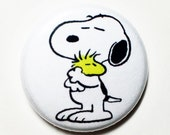 Snoopy Hugs! - 1 inch Button, Pin or Magnet