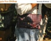 SALE Burgundy snakeskin evening  Bag Vintage 60s cluch bag