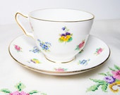 Crown Staffordshire Rose and Pansy Tea Cup Set - England