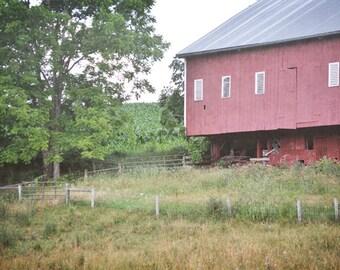 Red Barn Farm Photography Print 11x14 Fine Art Pennsylvania Rustic Rural Meadow Field Summer Landscape Photography Print.