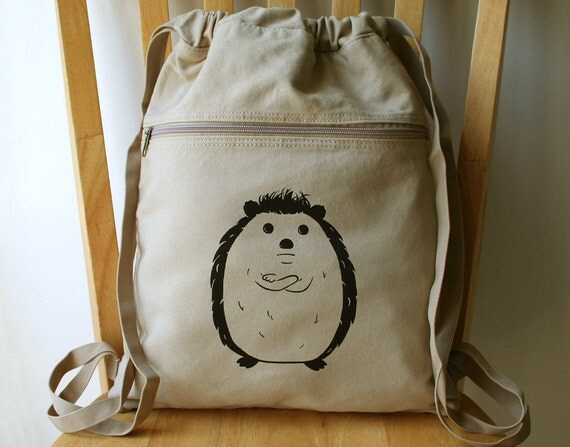Disgruntled Hedgehog Backpack Laptop Bag Canvas Book