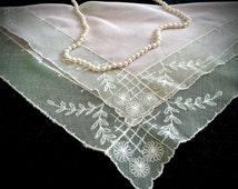 Vintage Sheer Pink Handkerchief - Vintage Hankies - Antique Handkerchief - Vintage Accessories - Shabby Chic - Gifts