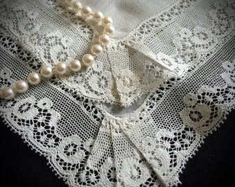 Vintage Linen Bridal Lace Handkerchief from Ireland - Antique Handkerchiefs - Antique Lace - Vintage Bride - Weddings - Fine Linens - Gifts