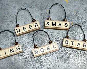 Repurposed Jenga Ornaments with Mini Bells
