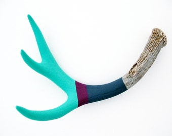 Turquoise, Mulberry & Gray Striped Painted Antler - Medium