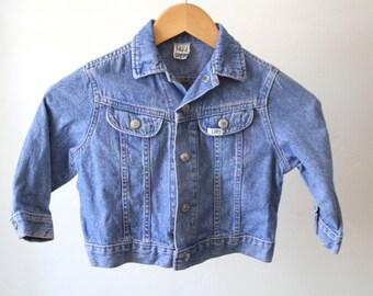 Small kids DENIM jean JACKET vintage 80s 90s Lee brand rainbow stitching unique coat