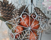Vintage Silver Wire Basket With Handle Twisted Wire Basket Fruit Basket Table Decoration Pinecone and Pomegranate Basket