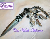 "Cat Witch Athame  - 7.5""  Embellished Athame  -  Black Obsidian, Moonstone, Golden Brown Agate"