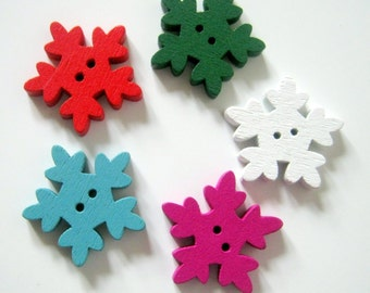 20 Christmas Snowflake Wood Buttons, 25x24mm, Crafts, Sewing,
