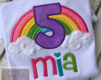Rainbow Birthday shirt for girls -- Rainbow Dreaming -- bright colors with beautiful rainbow and number, hot pink, turquoise, bright green