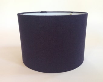 Drum Lamp Shade in Navy Blue  Linen Fabric